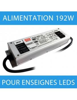 Alimentation pour enseigne LED transformateur 192 watts - 12 Volts