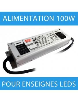 Alimentation pour enseigne LED transformateur 100 watts - 12 Volts