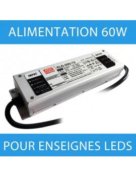 Alimentation pour enseigne LED transformateur 60 watts - 12 Volts
