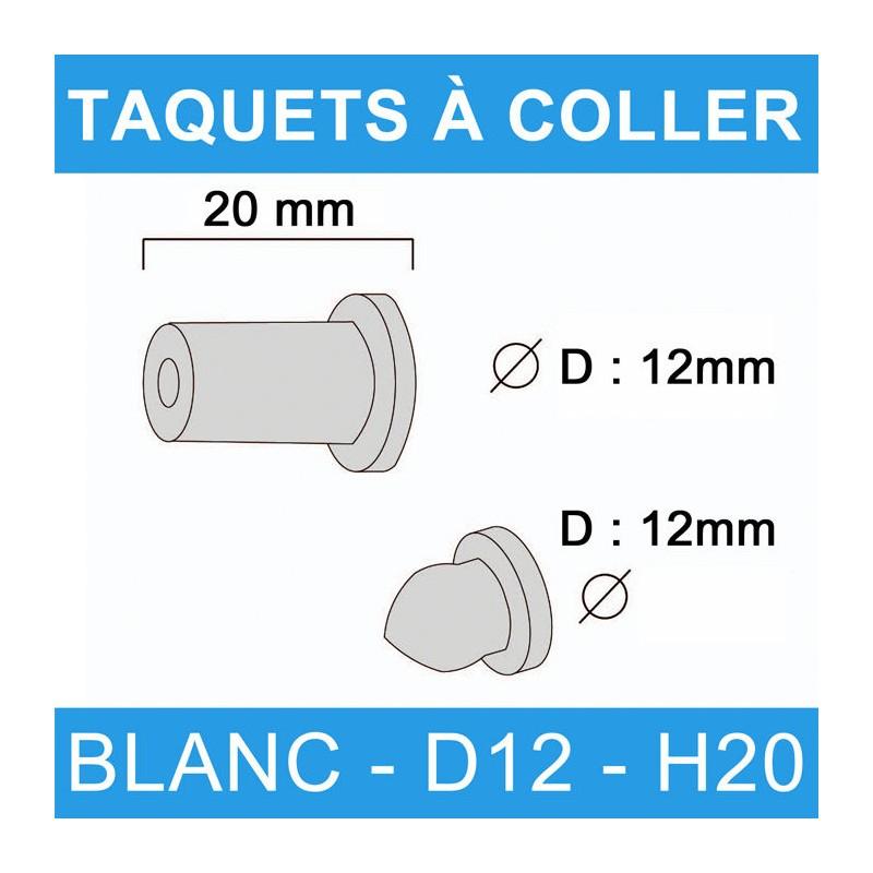 Taquets à coller blanc diamètre 12 et de hauteur 20 mm.