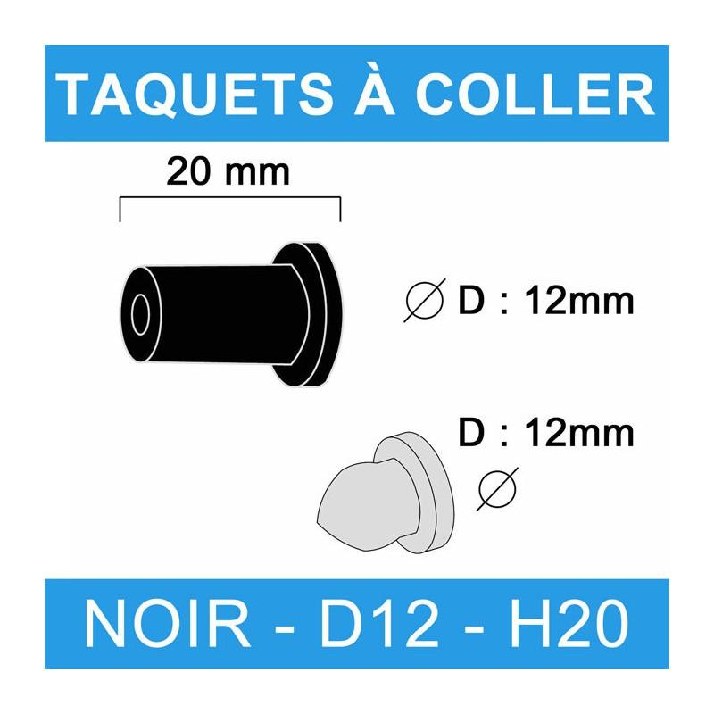Taquets à coller noir diamètre 12 et de hauteur 20 mm.