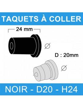Taquets à coller noir diamètre 20 et de hauteur 24 mm.