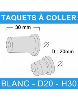 Taquets à coller blanc diamètre 20 et de hauteur 30 mm.