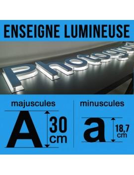 Enseigne lumineuse en rétro-éclairage hauteur 30cm