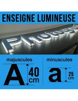 Enseigne lumineuse en rétro-éclairage hauteur 40cm