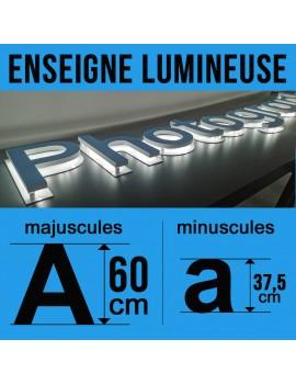 Enseigne lumineuse en rétro-éclairage hauteur 60cm