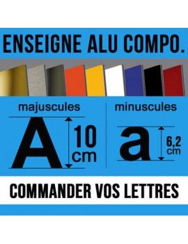 Enseigne en lettre aluminium composite en hauteur 10cm