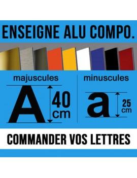 Enseigne en lettre aluminium composite en hauteur 40cm