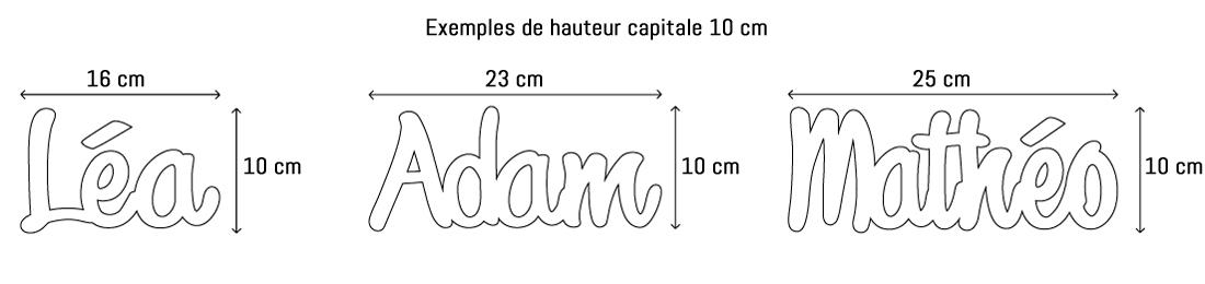 Lettres ou prénoms découpées hauteur capitale 10cm