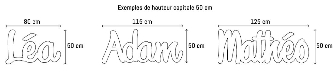 Lettres ou prénoms découpées hauteur capitale 50cm