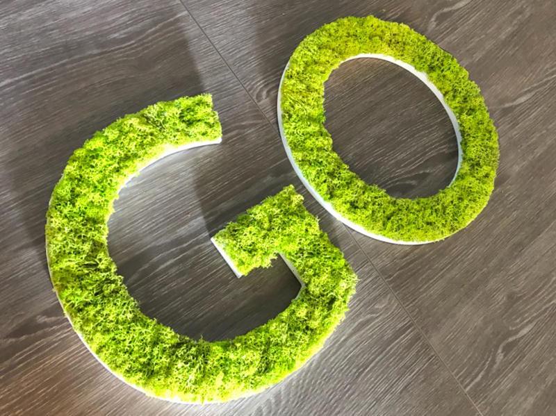 Grandes lettres végétales en mousse verte lichen