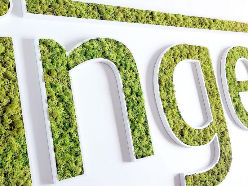 Logo végétal en mousse naturelle stabilisée