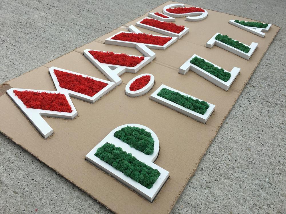 Logo vegetal avec gabarit carton pour pose facile