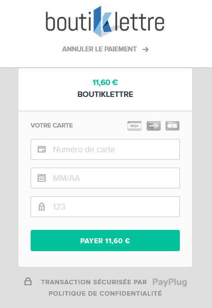 Paiement PayPlug - Boutiklettre